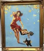 Original/Vintage PinUp Painting on Board - Gil Elvgren