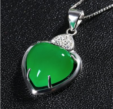 Sterling Silver Calcedony Jade Pendant