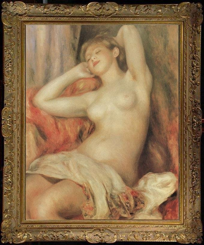 Art Old Master-Antique Oil Painting Portrait nude girl