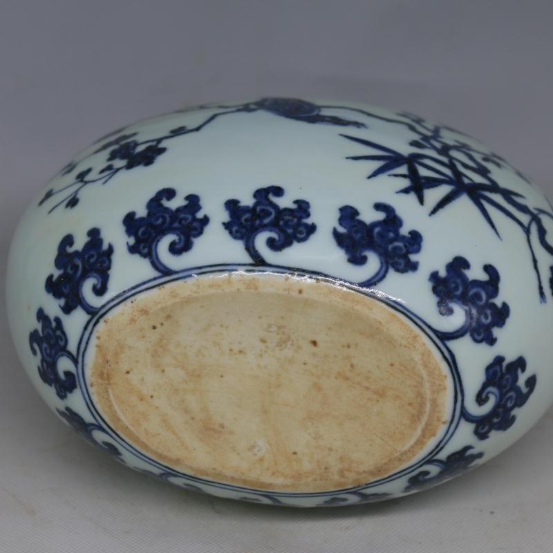 Chinese Ming Dynasty Blue & White Glazed Porcelain Vase - 7
