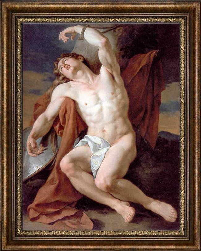 Old Master-Art Antique Oil Painting Portrait male nude