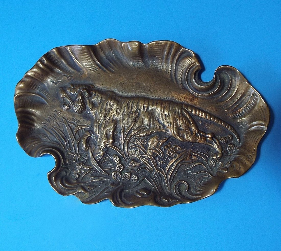 Antique Art Nouveau BRONZE TIGER TRAY For Coins, Pipe
