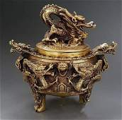 Chinese Qing Dynasty Copper Incense Burner with Lid