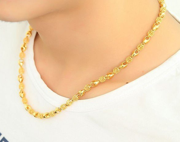 18K Gold Male Necklace - 8