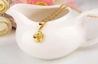 18k Gold Lady Necklace with Pendant - 2