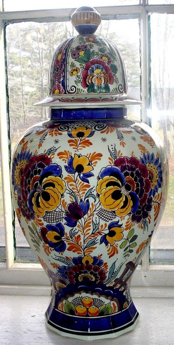 5: COLORFUL SIGNED DELFT COVERED JAR 12642Q