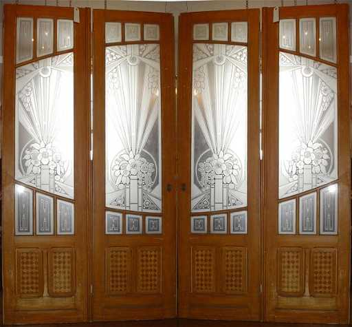 198 Set Of 4 Art Deco Etched Glass Doors 12222