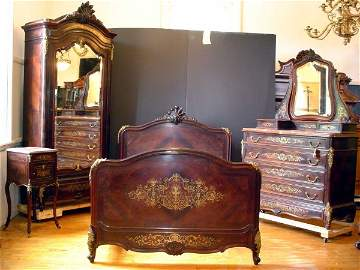 518: 4 PC ROSEWOOD BEDROOM SET BRASS INLAY M/T 14040