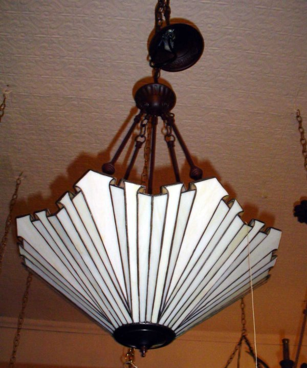 59: LEADED GLASS LIGHT WITH SCROLL DESIGN 13514F