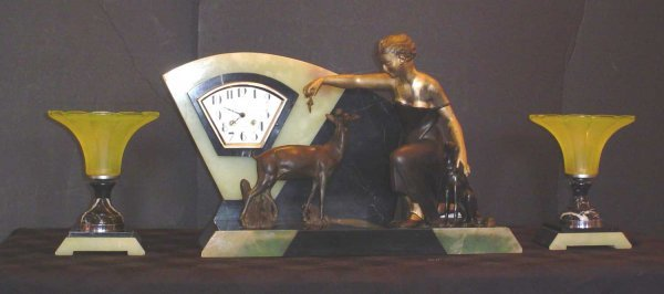 62: ART DECO 3PC CLOCK SET WITH LADY 14075