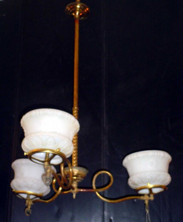 66: 3 ARM GAS LIGHT WITH SHADES 438