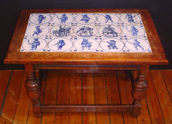 71: COFFEE TABLE WITH 15 BLUE TILES 14178