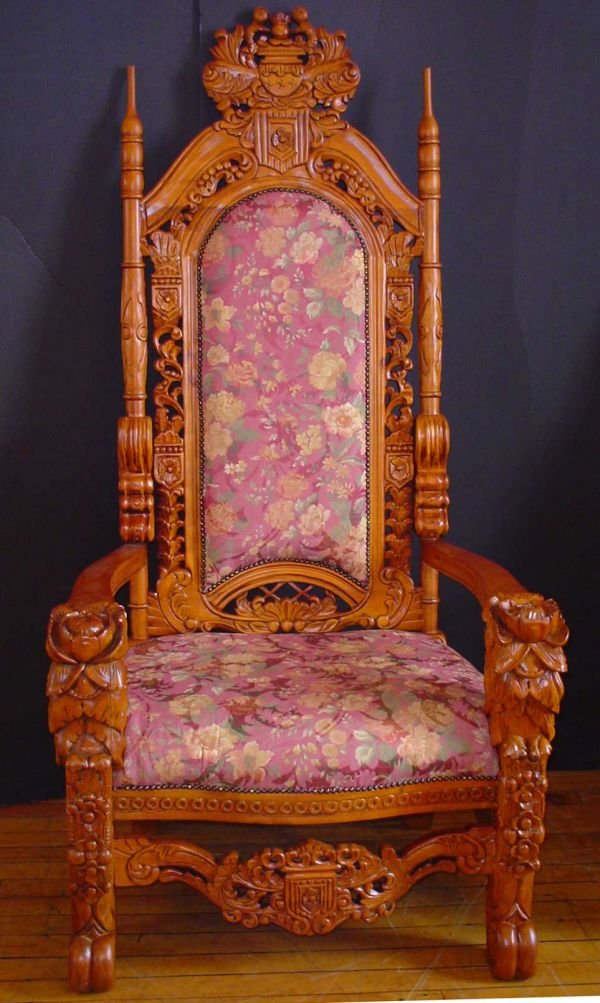 74: LARGE KING THRONE CHAIR W/ FLORAL CARVING  1102A