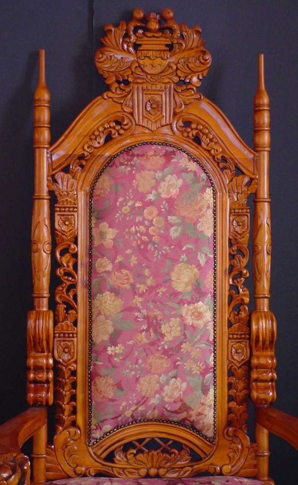 74: LARGE KING THRONE CHAIR W/ FLORAL CARVING  1102A - 2