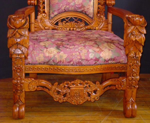 74: LARGE KING THRONE CHAIR W/ FLORAL CARVING  1102A - 3