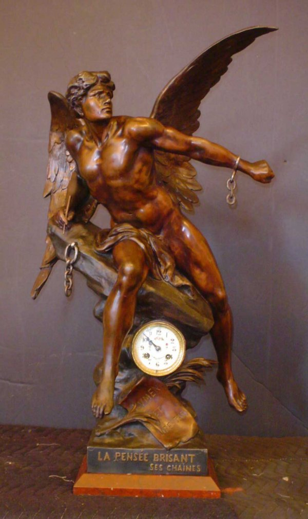 455:LARGE ANTIQUE  E. PICAULT  WINGED MAN CLOCK 14450