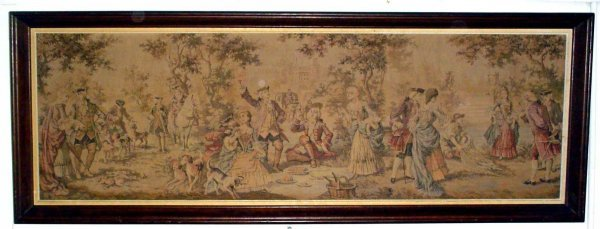 5: TAPESTRY WITH FESTIVE SCENE, PEOPLE AND DOGS 10493F