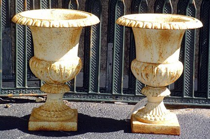 7: PAIR OF SMALL CAST IRON URNS 611B