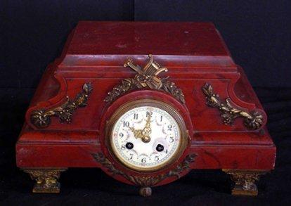 9: ROUGHE MARBLE PEDESTAL CLOCK 12903