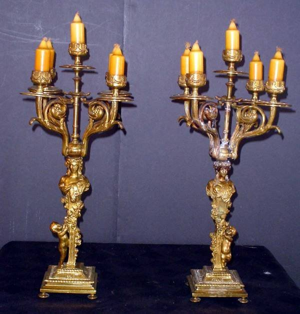 10: PAIR OF LADY AND CHILD CANDELARBARS 13989