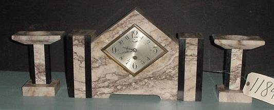 17: 3PC DECO CLOCK SET WITH DIAMOND FACE 11842