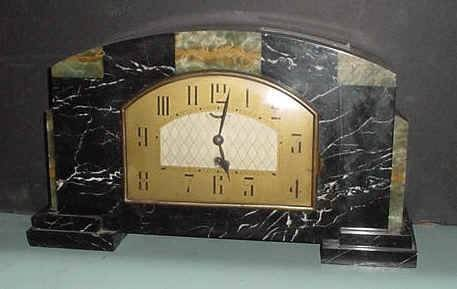 18: DECO CLOCK WITH GREEN AND BLACK MARBLE 12175