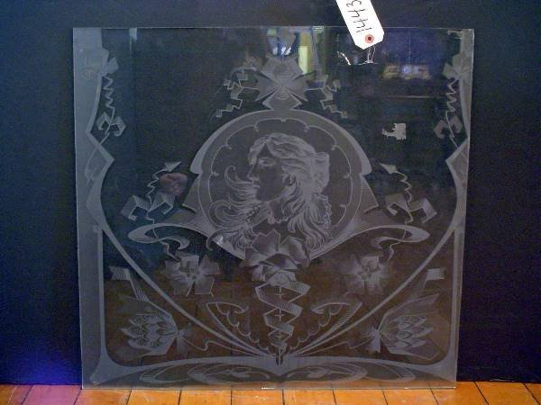 19: ETCHED GLASS WINDOW WITH LADY FACE 14435