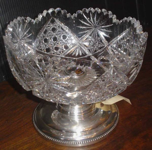 20: LG CUT GLASS BOWL WITH SILVER BASE 13810