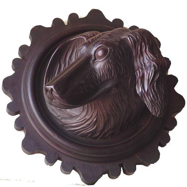 449A: BLACK FOREST DOG HEAD WALL HANGER 2659