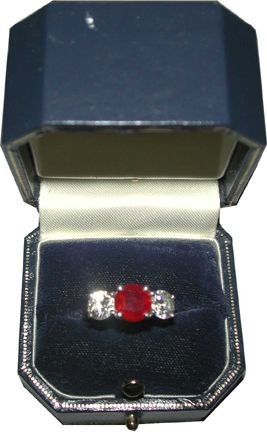 333: PLATNIUM RING 2 CT RUBY & TWO .75 CT DIAMONDS 1530