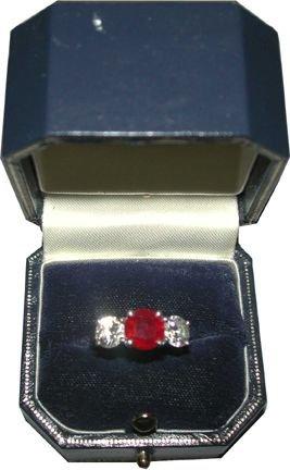 333: PLATNIUM RING 2 CT RUBY & TWO .75 CT DIAMONDS 1530