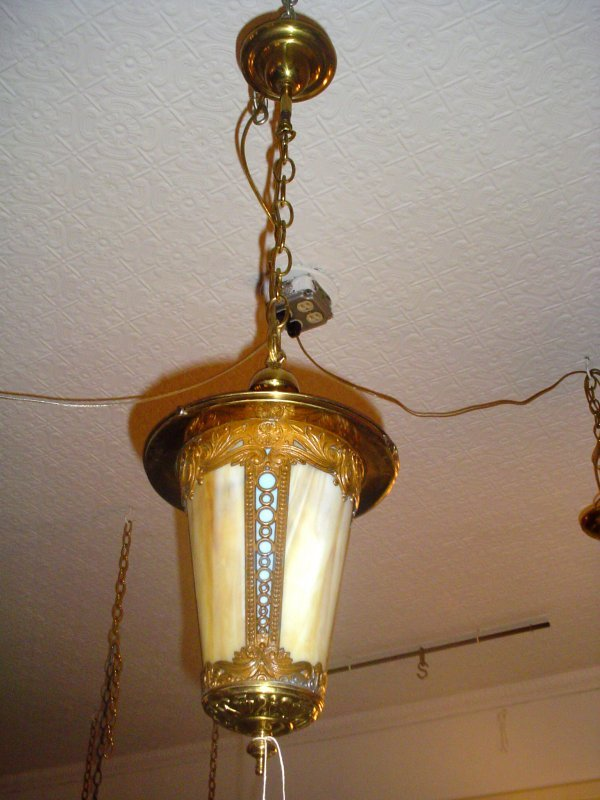 1007: BRASS & SPELTER BENT PANEL HALL LIGHT