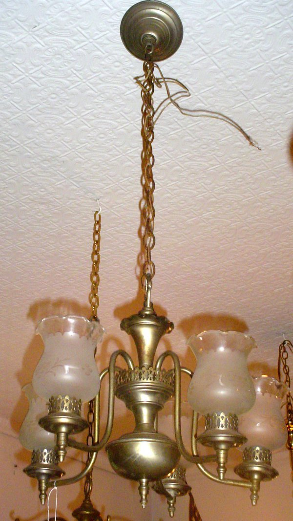 1018: 5 ARM SILVER AND BRASS CHANDELIER