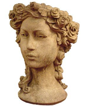 14: STONE LADY HEAD PLANTER WITH FLOWERS 2956