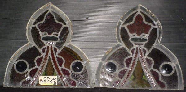 19: 2 PIECES OF GOTHIC STAINED GLASS 2989