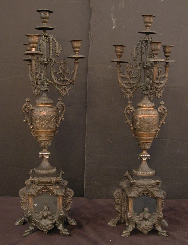 23: PAIR OF CANDELABRAS W/MARBLE INSERTS 15636