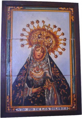 3PC TILE PICTURE OF HOLY WOMAN W/SPANISH WRITING157