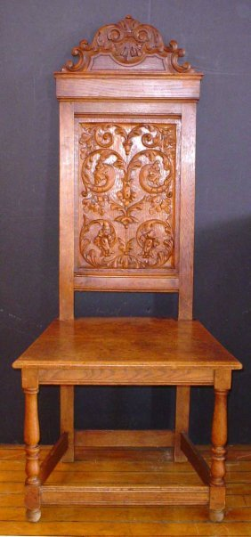 ANTIQUE CARVED OAK HIGH BACK CHAIR 14295