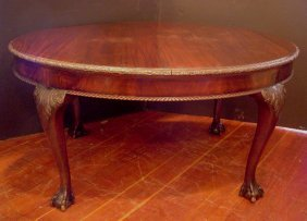 ANTIQUE MAHOGANY CHIPPENDALE TABLE W/ PAW FEET 15625