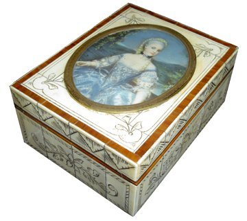 100: IVORY AND ROSEWOOD BOX W/PAINTED LADY 15789