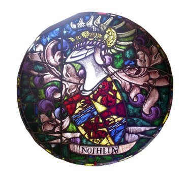 102: ROUND SIGNED STAIN GLASS WINDOW SHIELD 15601
