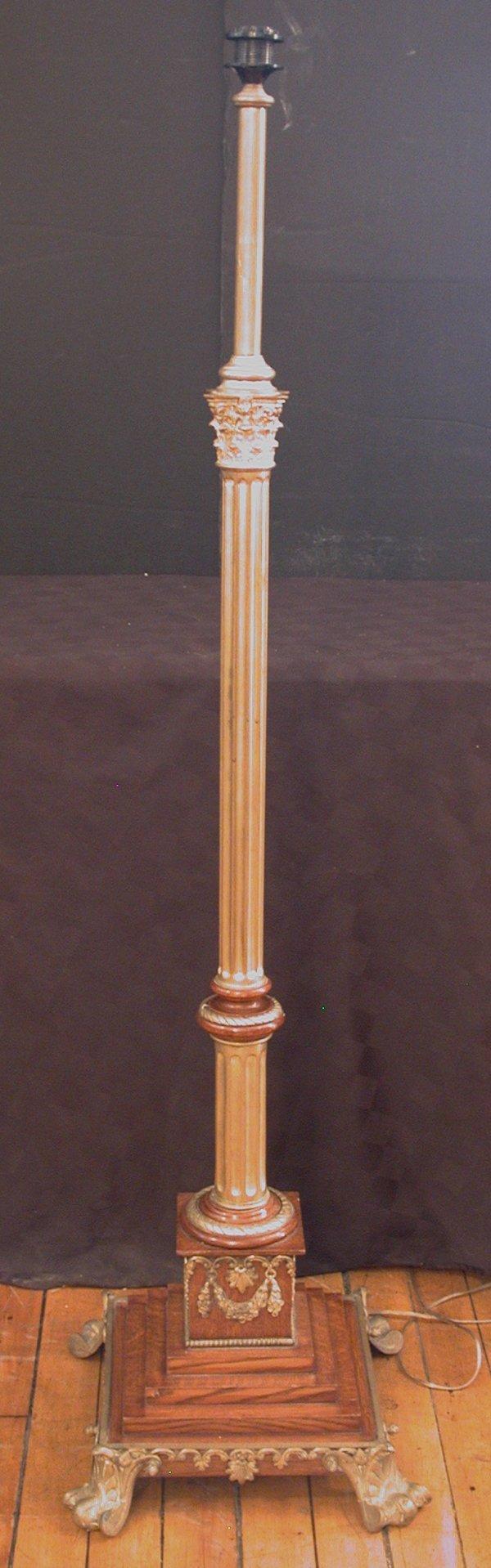 103:ANTIQUE BRONZE & WOOD FLOOR LAMP W/ PAW FEET 15656