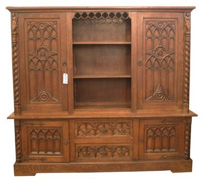 106:ANTIQUE CARVED OAK GOTHIC TWO DOOR BOOKCASE 15637