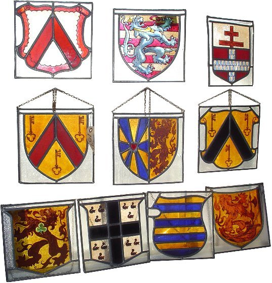 109: 10 FAMILY CREST PAINTED LEADED GLASS WINDOWS 15773