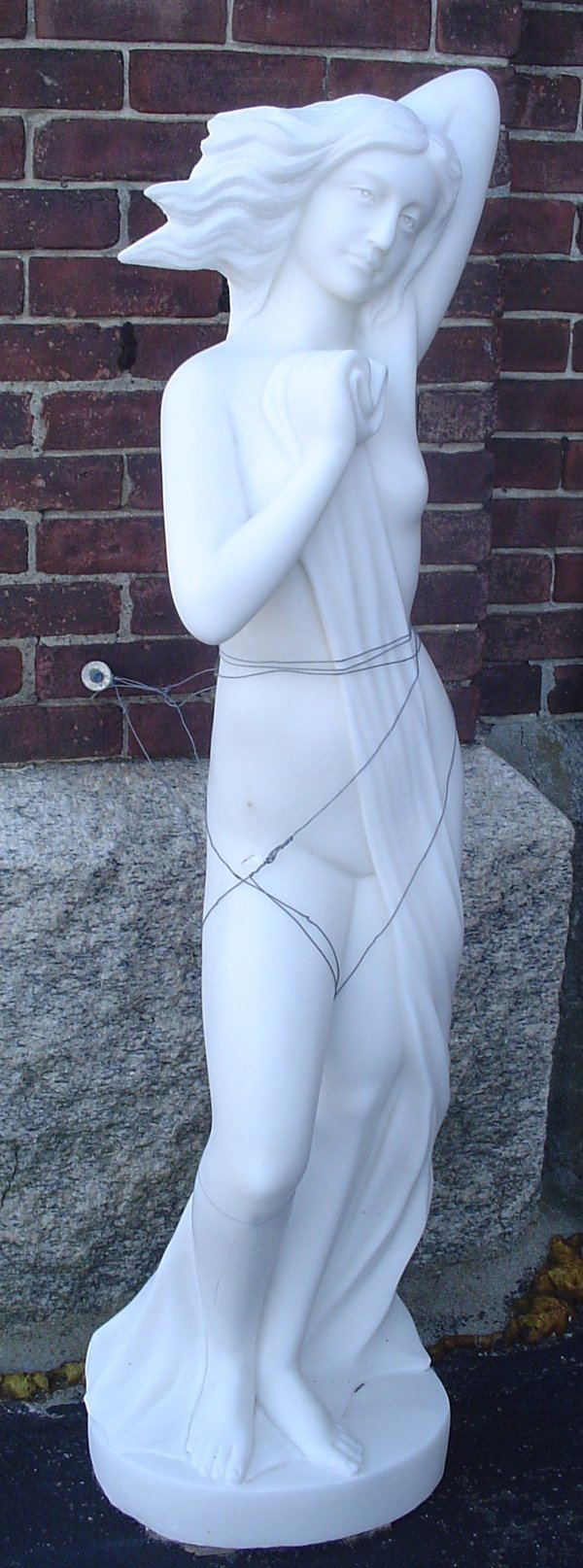 """113:TALL 58"""" MARBLE STATUE OF SEMI NUDE WOMAN 1540"""