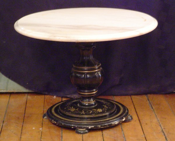 114: EBONIZED TABLE W/ MARBLE TOP MOTHER OF PEARL 2005A