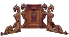 3PC CARVED ARCHITECTURAL GRIFFIN BRACKETS15681
