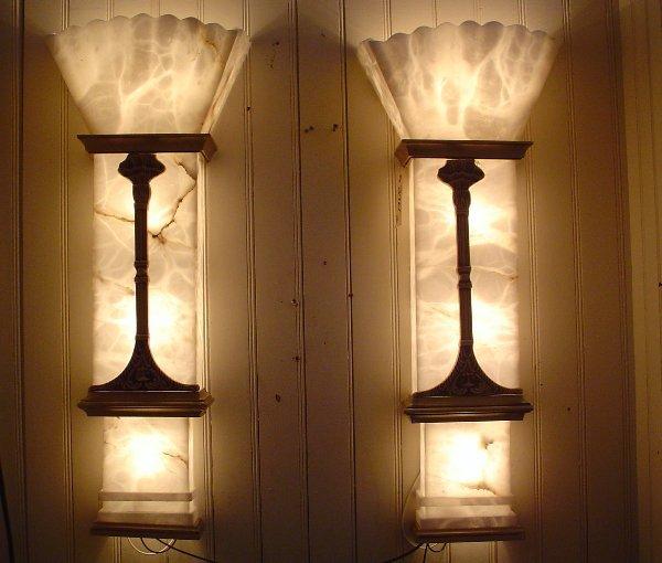170: PR  ALABASTER WALL THEATRE LIGHTS W/ BRONZE 2961