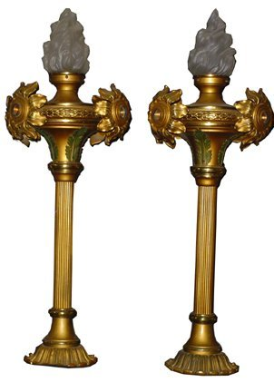 172: PAIR OF BRASS NEWELL POST LIGHTS W/TORCH SHADE 294