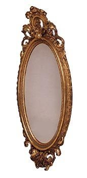 177:GREAT EARLY LG VICTORIAN OVAL GOLD GILT MIRROR 1581